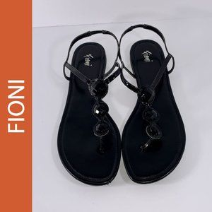Fioni Ebony Jeweled Ankle Strap Thong Sandals